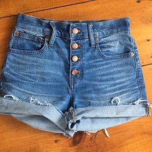 Madewell high rise jean shorts